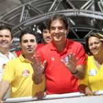 """Galeno, """"Silveira"""", Fábio (atrás), Robinson e Fátima: vitória de ponta a ponta (Foto: Liderados pelo Povo)"""