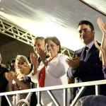 No dia 30 de Setembro de 2014, ainda no Governo, Rosalba e o prefeito estiveram no mesmo palanque festivo (Foto: Demis Roussos)