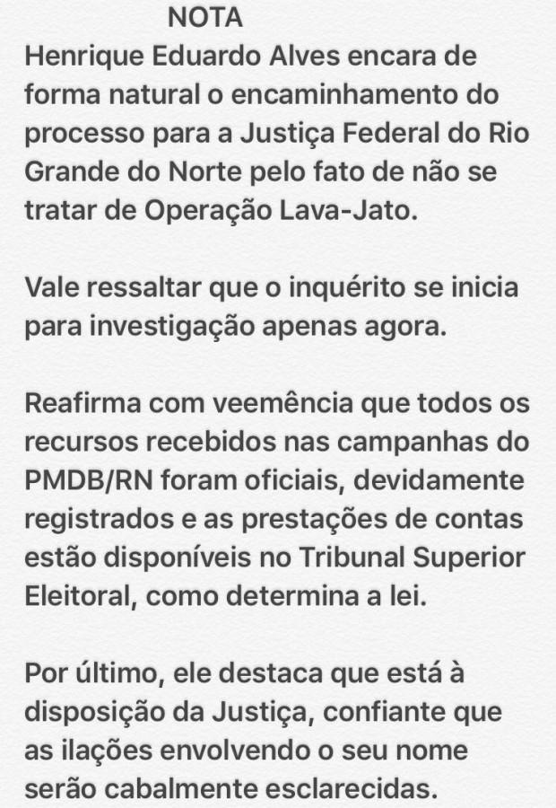 * Henrique Alves acha natural inquérito transferido para o RN.