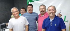 """Rodrigo, operador de áudio """"Maguila"""", o editor do BCS, advogado Vicente Venâncio e o radialista esportivo Dantas Júnior em 16 de julho de 2016, na Rádio Rural de Mossoró (Foto: arquivo)"""