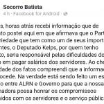 Ex-candidata a prefeito pelo PT e atual chefe de Gabinete da pasta da Educação, do Estado, Socorro Batista admitiu a Fake News imprudente
