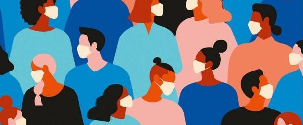 Ilustração de gente usando máscaras - Covid-19 - pandemia