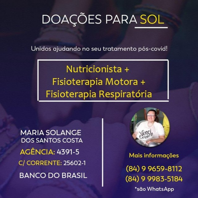 Solange Santos precisa de apoio pós-Covid-19 - tratamento