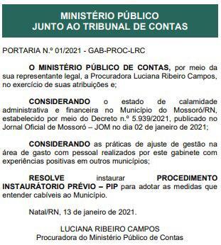 TCE-RN instala Procedimento Instauratório Prévio (PIP) com base no decreto de calamidade administrativa e financeira do Governo Allyson Bezerra - 13-01-21