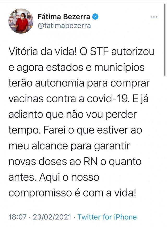 Postagem da governadora Fátima mostra interesse em agir em faixa própria (Reprodução BCS)