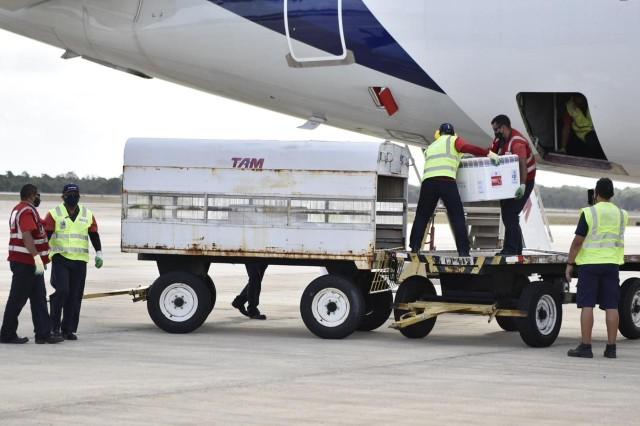 Novo lote chegou nessa quinta-feira (25) no Aeroporto de São Gonçalo do Amarante (Foto: Elisa Elsie)