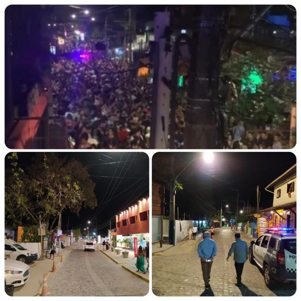 No sábado a multidão tomou conta de Pipa; à noite dessa segunda-feira, a imagem foi outra (Fotomontagem BCS)