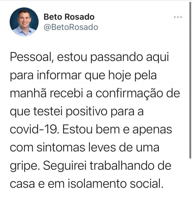 Beto Rosado informa em suas redes sociais que testou positivo para Covid-19 - 29-03-21