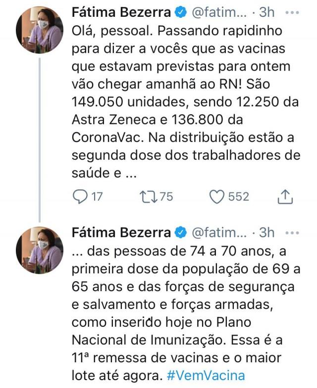 Fátima Bezerra anuncia em 31-03-21 a chegada de 149.050 doses de dois tipos de vacinas AstraZeneca e CoronaVac ao RN, para o dia 1º de abril de 2021