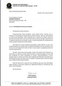 Ofício enviado a ministro (Reprodução BCS)