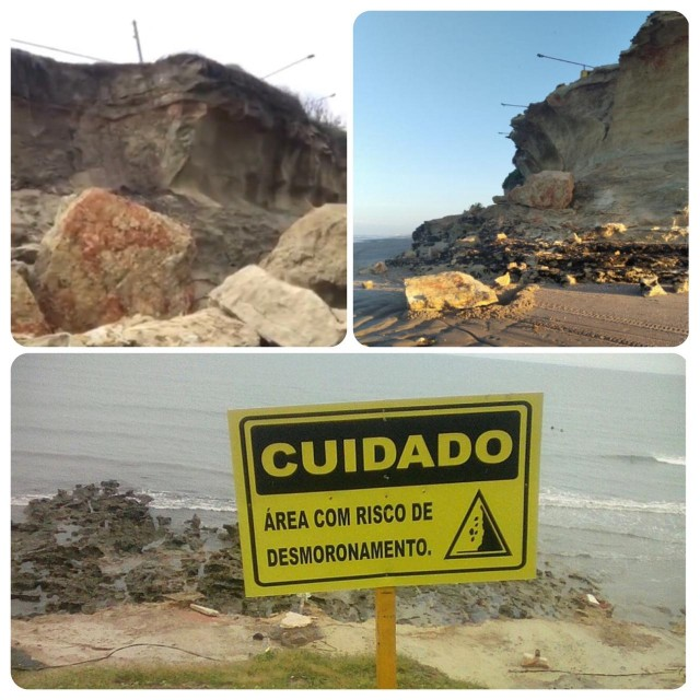 Foto 1 o desmoronamento de hoje, a Foto 2 em agosto de 2020 e placa ainda do ano passado (Fotomontagem BCS)