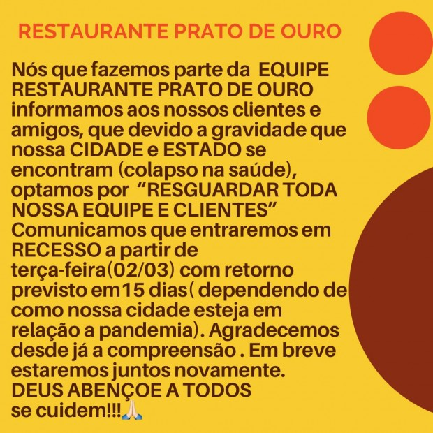 Restaurante Prato de Ouro suspende atividades por 15 dias a partir de 2 de março de 2021