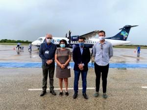 Representantes do governo estadual e prefeito participaram em Mossoró de evento de retomada de voos (Foto: Governo do RN)