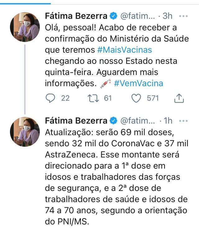 Fátima anuncia chegada de 69 mil doses de vacinas Astrazeneca e CoronaVac - anuncio feito em 07 de Abril de 2021
