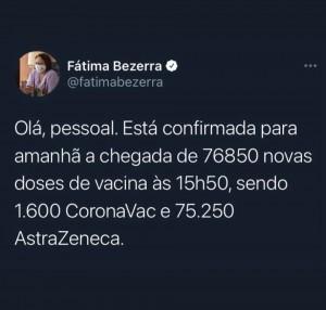 Fátima anuncia chegada de novo lote de vacinas, mas poucas CoronaVac - 28-04-21