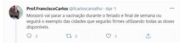 Vereador rosalbista, Francisco Carlos cobrava utilização de todas as vacinas e pressionava governo (Reprodução BCS)