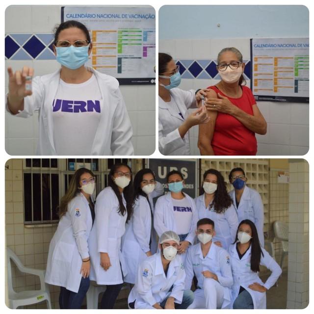 Reitora atuou efetivamente vacinando idosos e contou com equipe de alunos e professores (Foto: Agecom/Uern)