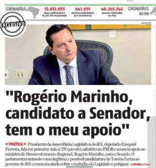 Presidente do PSDB e da AL é destaque na capa do TN de hoje (Reprodução BCS)