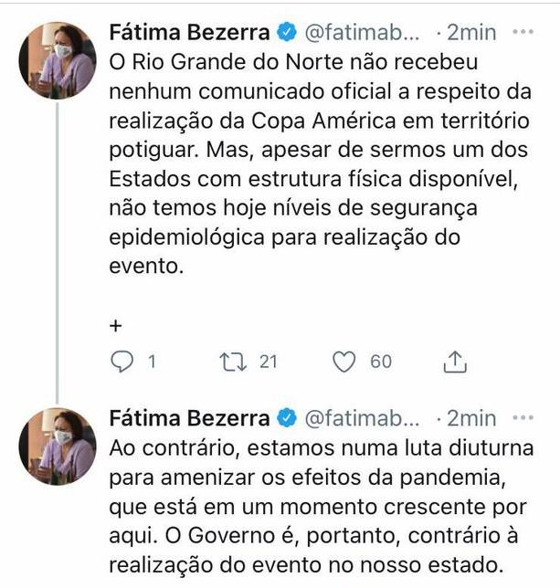 Fátima Bezerra é contra Copa América em Natal, no Arena das Dunas - 31-05-21
