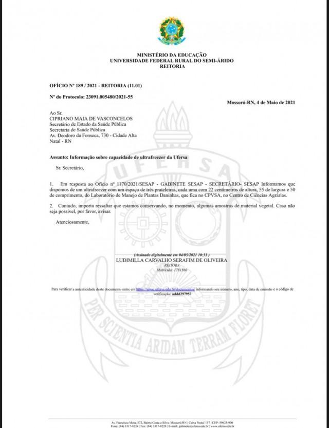Ofício da reitora Ludimilla ao secretário Cipriano é do dia 5 passado (Reprodução)