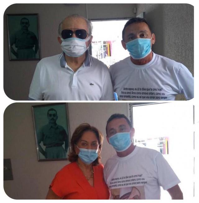 Aliado fiel Nivaldo é recebido por casal na sede do Progressistas em Mossoró (Fotomontagem BCS)