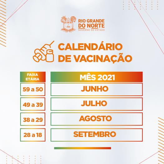 Calendário de vacinação do Governo do RN para Covid-19 até 18 anos em setembro divulgado dia 15 de Junho de 2021