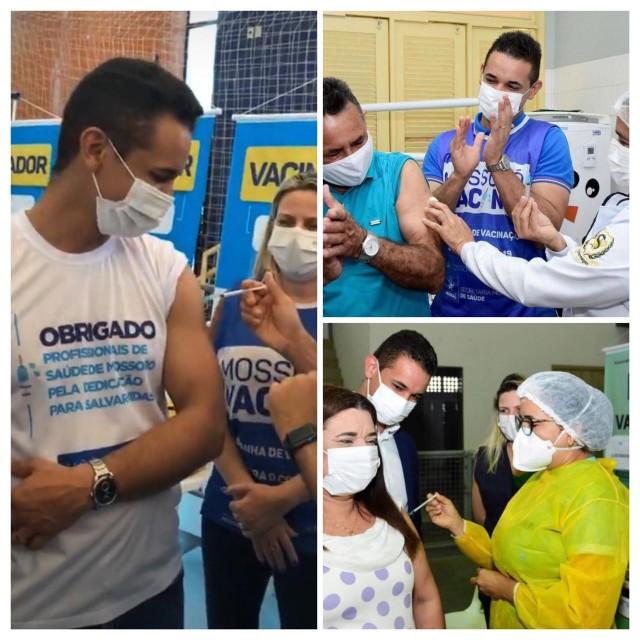 """Allyson, dona Maria das Neves e """"Seu Dedé"""": vacinas (Fotomontagem do Canal BCS)"""