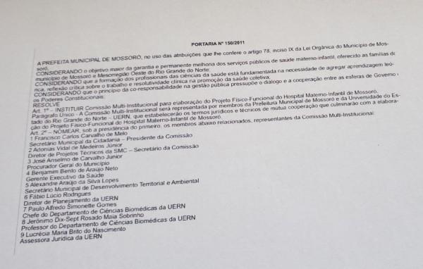 Cópia trata da formação de comissão em 2011, na esfera municipal (Reprodução BCS)