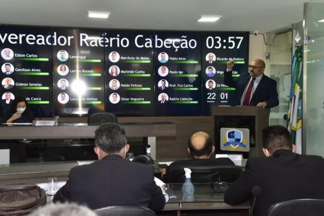 Raério teve endosso de vários vereadores em pronunciamento nessa terça-feira (Foto: Edilberto Barros)