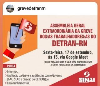 Detran - RN - Assembleia Geral Extraordinária - 17 de setembro de 2021 às 15h, de forma virtual