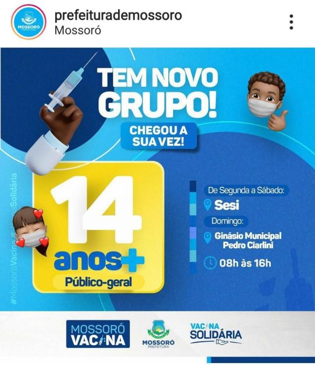 Mossoró Vacina 14 anos no dia 19 de Setembro de 2021 (domingo) - Prefeitura Municipal de Mossoró